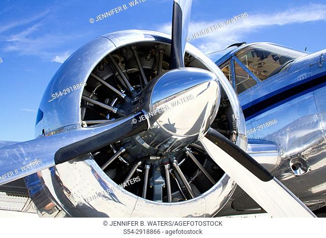 Close-up of the propeller on a Beechcraft 18 plane