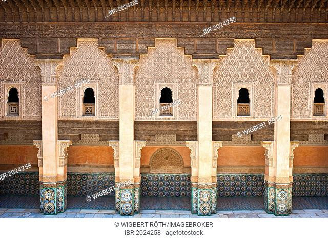 In the courtyard of the Ben Youssef Madrasa, Medina, UNESCO World Heritage Site, Marrakech, Morocco, Africa