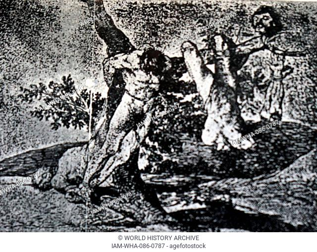 The Disasters of War, by Francisco Goya (1746- 1828) a Spanish romantic painter and printmaker. Dated 19th Century