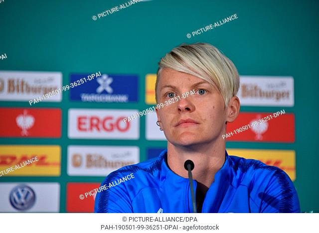 30 April 2019, North Rhine-Westphalia, Cologne: The soccer player Nilla Fischer (Vfl Wolfsburg).. at the press conference for the DFB Women's Cup Final which...