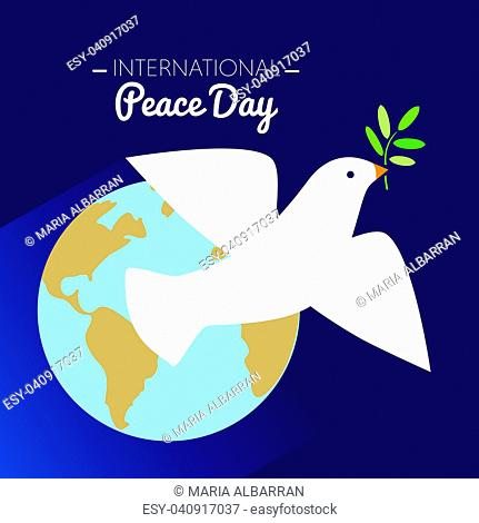 International peace day dove flying with olive branch and Earth in the background. Vector illustration