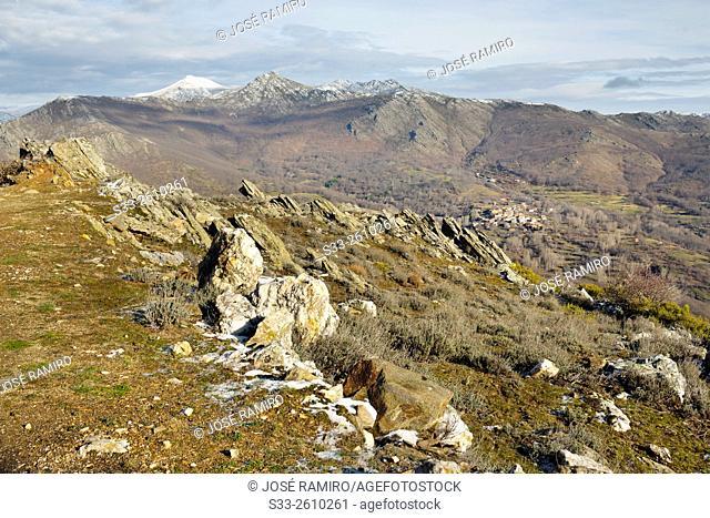 Sierra Norte and El Cardoso de la Sierra from Bañaderos peak. Madrid. Spain. Europe