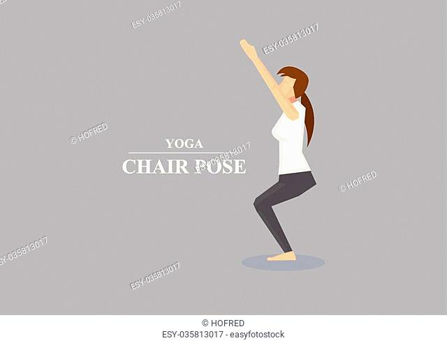 Vector illustration of sporty women balancing on bent knees with outstretched arms in yoga chair pose isolated on plain grey background