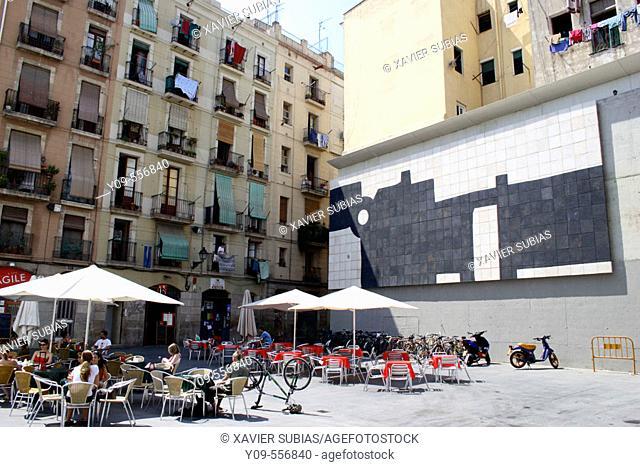 Mural G-333 (1998) by Eduardo Chillida, MACBA, Barcelona. Catalonia, Spain