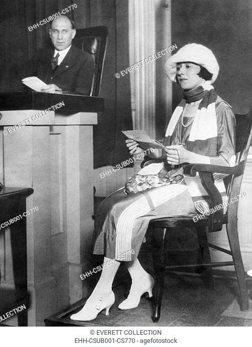 Jean Aker, in court testified about the status of her marriage to Rudolph Valentino. June 5, 1922. Valentino married Alla Nazimova on May 13