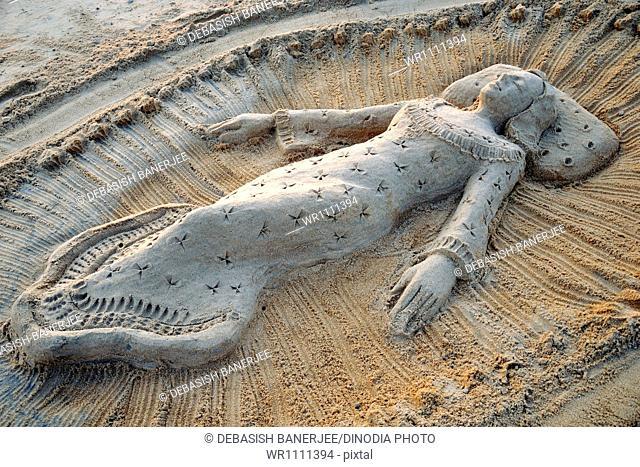sand art at puri orissa India