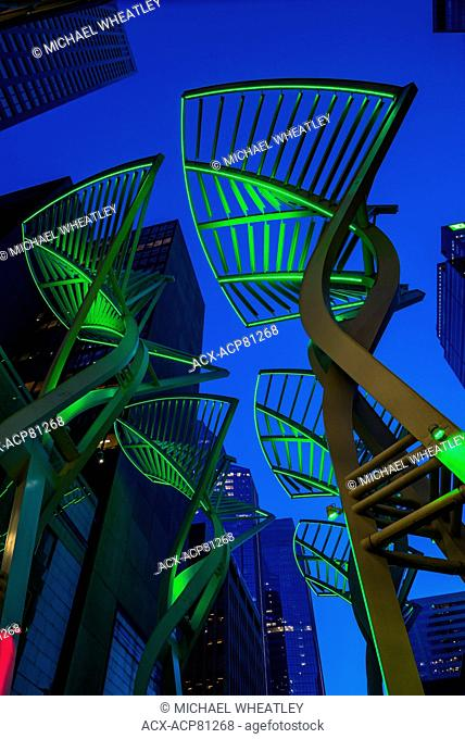 Tthe 'Trees' sculpture on Stephen Avenue, designed to reduce wind gusts between the buildings, Calgary, Alberta, Canada