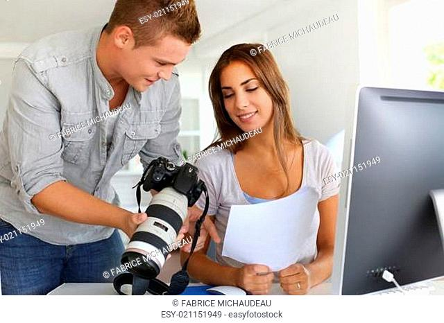 Student in photography working together on project