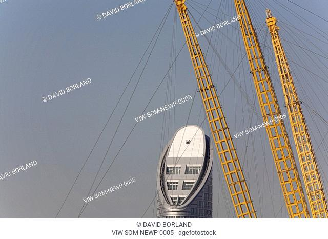 Ontario Tower at New Providence Wharf, seen from Greenwich Peninsula with spires of O2 / Millennium Dome in foreground