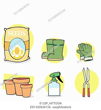 Digital Collage Gardening Tools