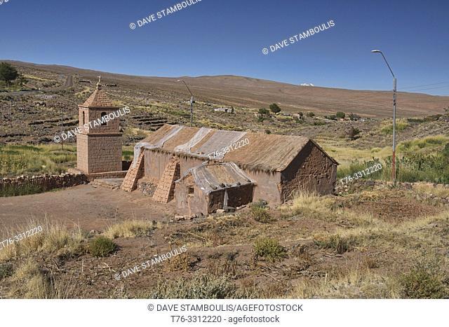 The adobe and volcanic rock church of Socaire, Atacama Desert, Chile