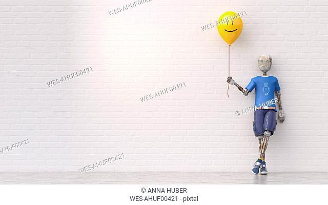 Robot holding smiley balloon, 3d rendering
