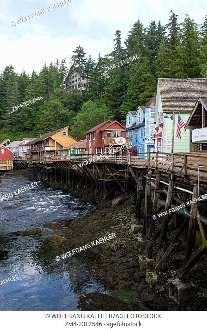 View of Creek Street the former Red Light district in Ketchikan, Southeast Alaska, USA