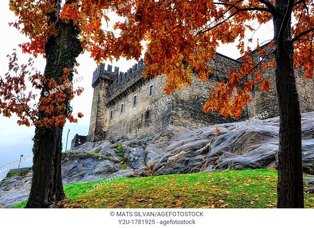 Castle in autumn with trees