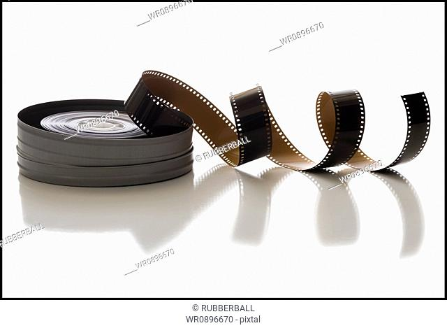 Coiled film strip and canister