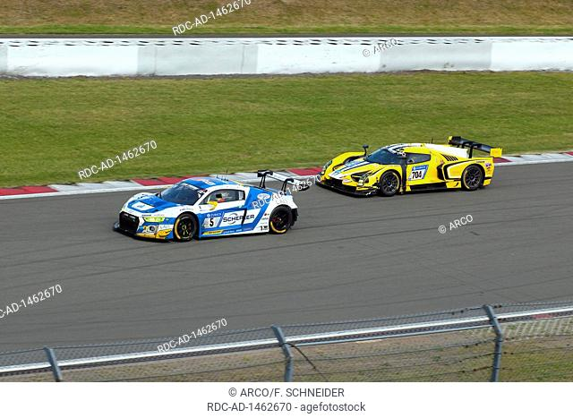 Audi R8 LMS, SCG003C, overtaking, 24h race 2017, Eifel, Rhineland-Palatinate, Germany, Europe