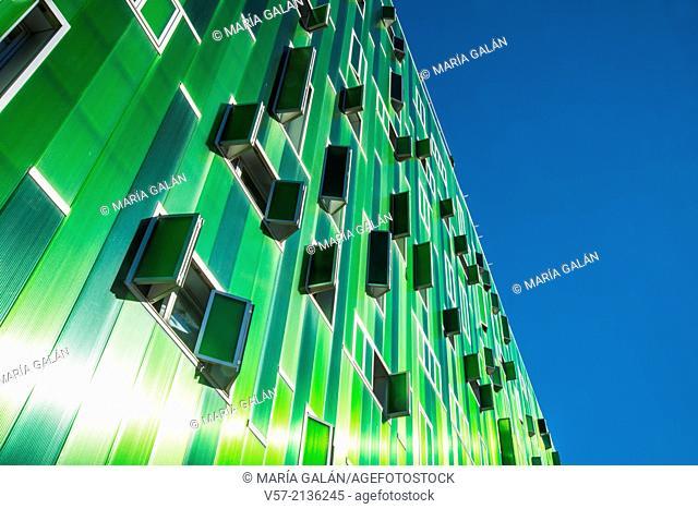 Facade of Vallecas 51 building, view from below. Ensanche de Vallecas, Madrid, Spain