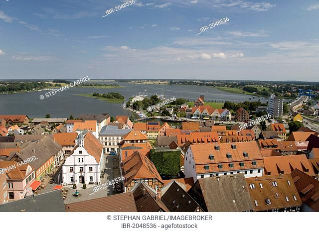 View from the steeple of St. Peter in the town of Wolgast on the Island of Usedom, Baltic Sea, Pomerania, Mecklenburg-Western Pomerania, Germany, Europe