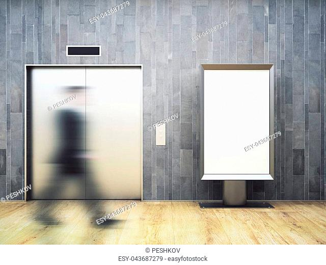 Blurry businessman walking in dark interior with elevator and empty banner. Ad concept. Mock up, 3D Rendering
