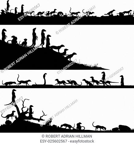 Set of editable vector foreground silhouettes of African meercats with animals as separate objects