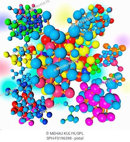 Multicoloured molecules, illustration