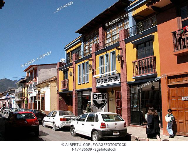 Street scene, San Cristóbal de las Casas. Chiapas, Mexico