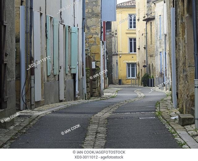 empty street, Saint-Macaire, Gironde Department, Aquitaine, France