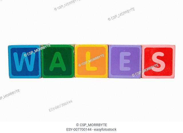 wales in toy block letters