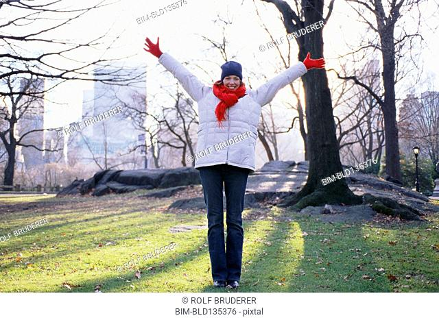 Woman cheering in Central Park, New York City, New York, United States