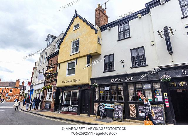 Old, beautiful architecture in the streets of York, Royal Oak English Pub, North Yorkshire, England, United Kingdom