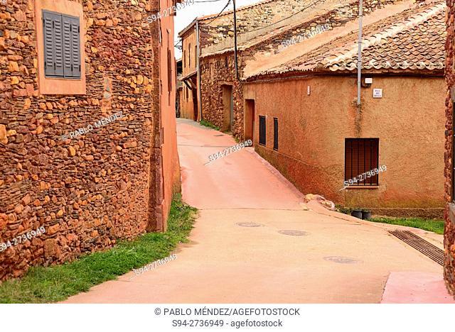 "Street in Villacorta """"red village"""", Segovia, Spain"