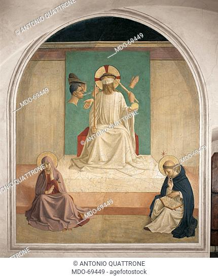 Christ Mocked, by Guido di Pietro (or Piero) known as Beato Angelico, 1438 - 1446 about, 15th Century, fresco, cm 188 x 164