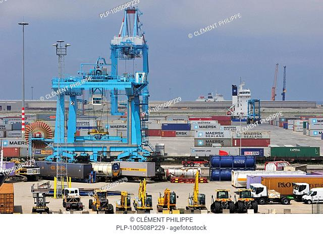 Container terminal cranes at the Port of Zeebrugge, Belgium