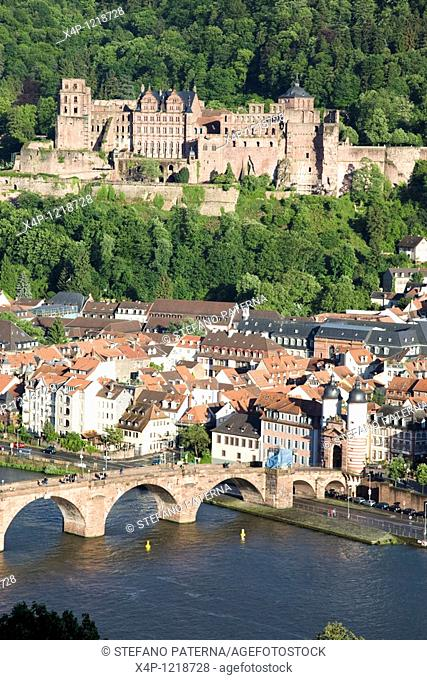 View towards Heidelberg and the Castle, Heidelberg, Germany