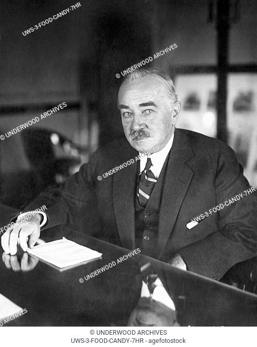 Hershey, Pennsylvania: November 12, 1923 A portrait of America's chocolate king, Milton S. Hershey, who just set up a $60 million trust fund for the benefit of...