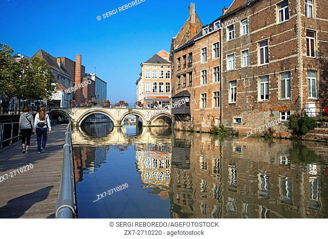 Mechelen Belgium Flemish house facade exterior travel destination sightseeing twillight canal channel waterway boat. Romantic canal