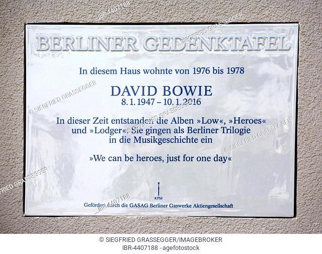 Berlin Memorial Plaque honoring David Bowie, Schöneberg, Berlin, Germany