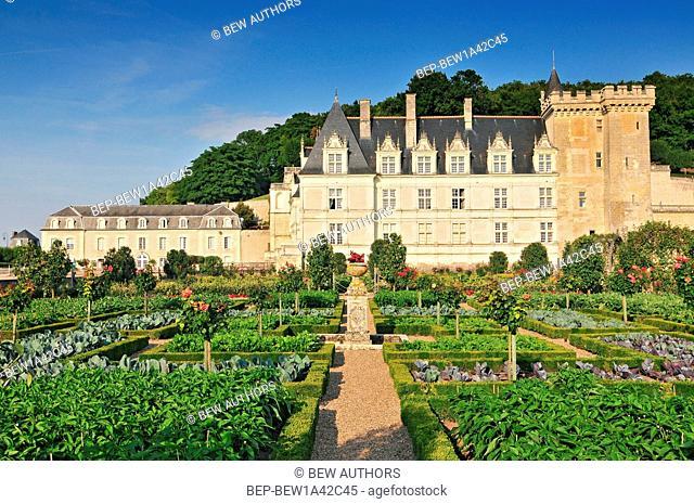 Villandry Castle with garden Indre-et-Loire Centre France