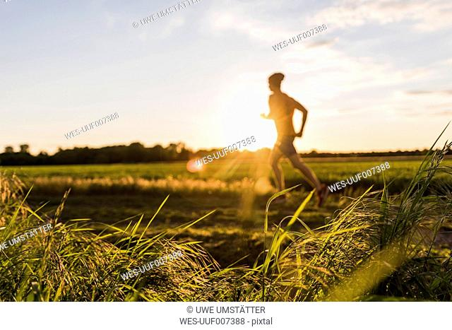 Germany, young man jogging, against the sun