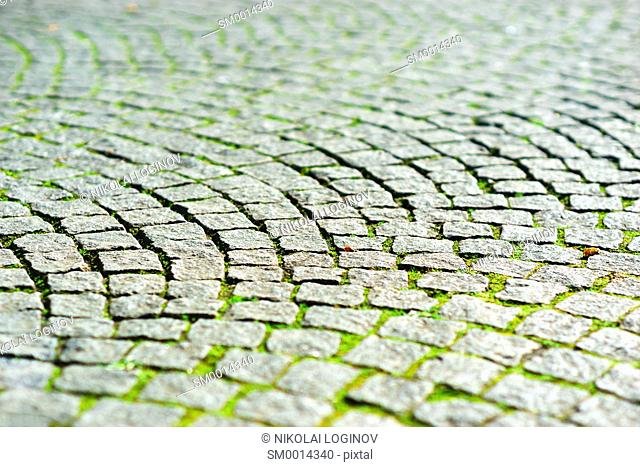 Diagonal medieval Norway pavement with summer grass background hd