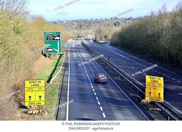 A21 at Tonbridge, Kent. Traffic aproaching a junction