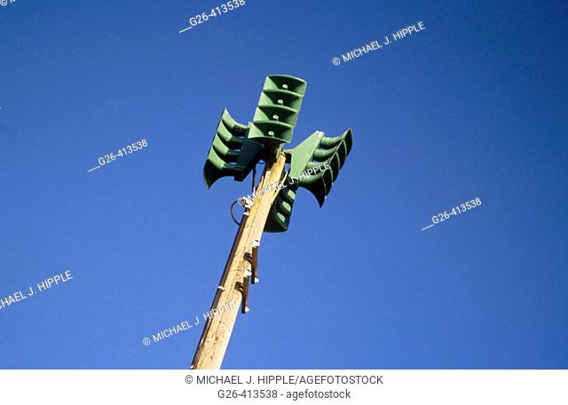 Tsunami warning system megaphones. Oregon. USA