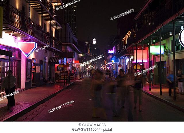 Market lit up at night, New Orleans, Louisiana, USA