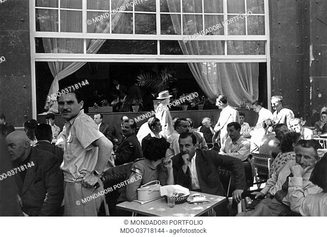 Some people sitting at the café. Yugoslavia, May 1968