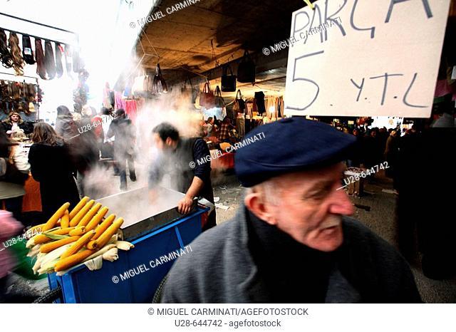 Istanbul, Turkey. Cuma Pazari, Aksaray (Sunday open market, Aksaray). It's a popular open air market placed on the Aksaray area, in Istanbul