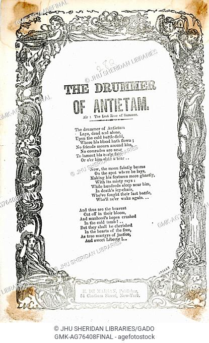 """Broadside from the American Civil War entitled """"""""The Drummer of Antietam"""""""", describing a fallen drummer and praising his service, New York, New York, 1863"""