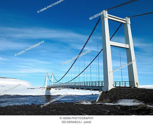 Suspension bridge over river Jokulsa a Fjollum, North Iceland