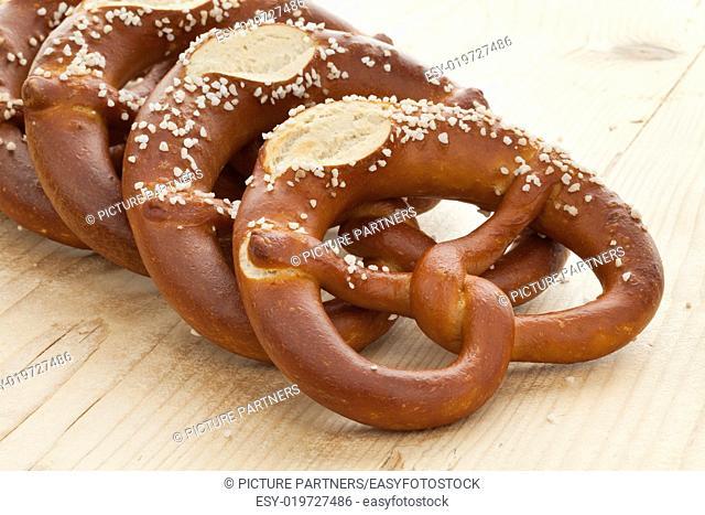 Fresh soft pretzels with salt