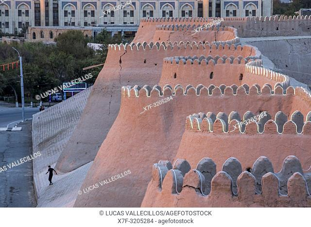 Walls of Ichon-Qala or old city, Khiva, Uzbekistan