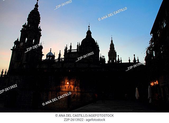 Santiago de Compostela Cathedral evening time. Spain. Silhouette